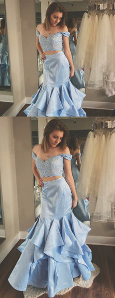 Two Piece Off Shoulder Pale Blue Prom Dresses  ,PD00122