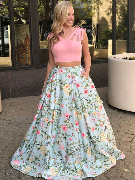 Flower Print Prom Dresses with Pockets