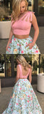 Two Piece Peach Floral Prints Pocket Prom Dresses ,PD00125