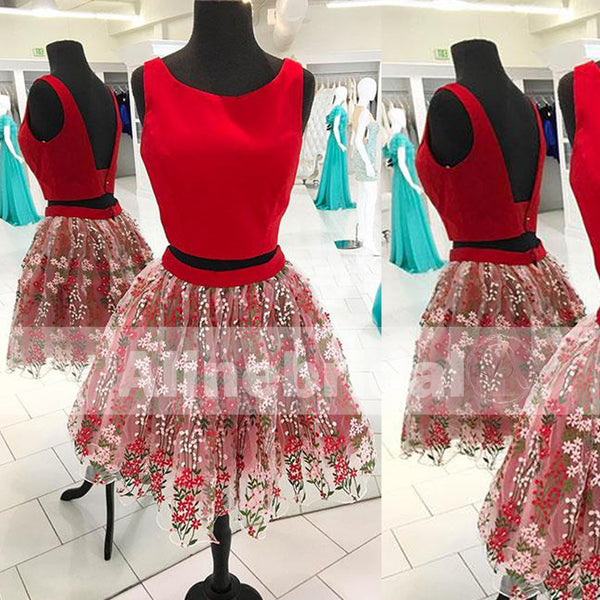 Two Piece Red Satin Fashion Embroidery Homecoming Dresses For Teens, BD00224
