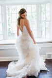Two Piece Simple Spaghetti Strap V-back Ruffles Organza Wedding Dresses , AB1150