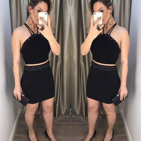 Two Piece Spaghetti Strap Beaded Sheath Black Homecoming Dresses,BD0024