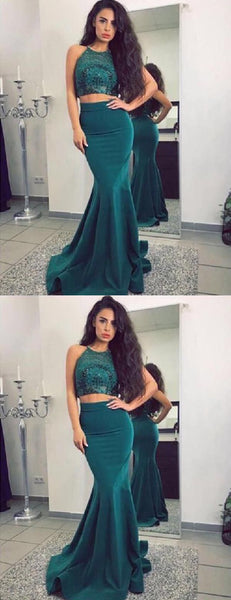 Two Piece Teal Sequin Jersey Mermaid Cheap Long Prom Dresses,PD00294