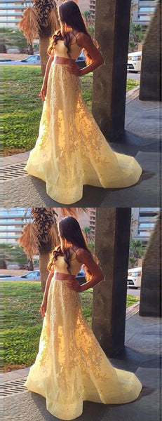 Two Piece Yellow Lace Applique A-line Sweet-16 Prom Dresses,PD00310