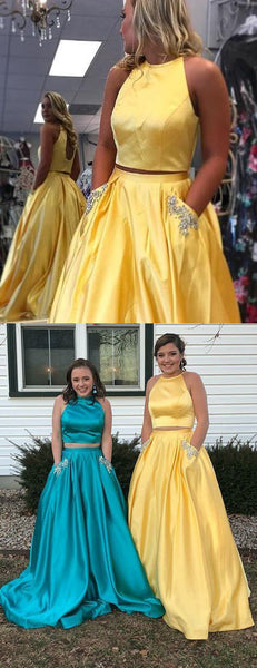 Two Piece Yellow Satin Open Back Beading Pocket Prom Dresses,PD00359