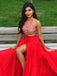 Long Two Pieces Halter A-line Red With Side Slit Charming Evening Prom Gown Dress.  PD0206