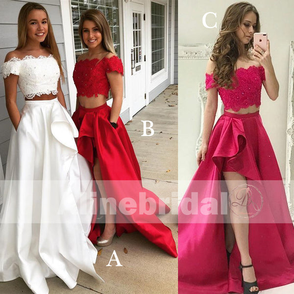 Two Piece Off Shoulder High Low Prom Dresses With Pockets For Teens