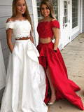 Two piece Off Shoulder High Low Prom Dresses With Pockets For Teens ,PD00103