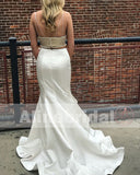 Two Piece Spaghetti Strap Mermaid Beading Prom Dresses, PD00088