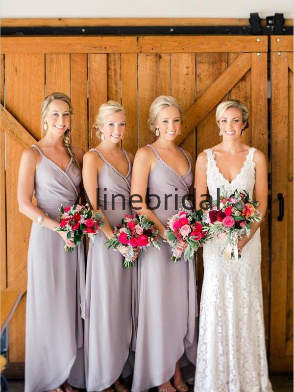 Unique Design Charming Beach Modest Long Bridesmaid Dresses AB4223