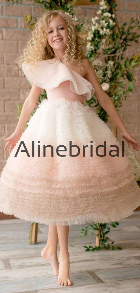 Unique Tulle Cute One Shoulder Flower Girl Dresses FGS145