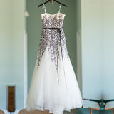 Unique Black Floral Lace Ivory Tulle Strapless A-line Wedding Dresses, WD0192