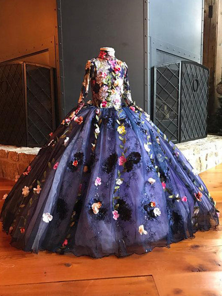 62b4ac5534 Unique Gorgeous Navy Applique High Neck Princess Flower Girl Dresses ...