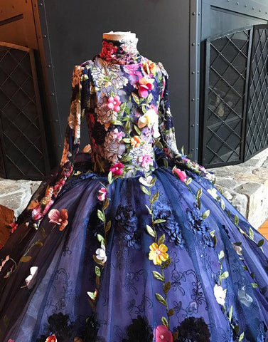 products/Unique_Gorgeous_Navy_Applique_High_Neck_Princess_Flower_Girl_Dresses_FGS053.jpg
