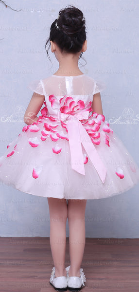 Unique Rose Applique Cap Sleeve Fashion Flower Girl Dresses, FGS033