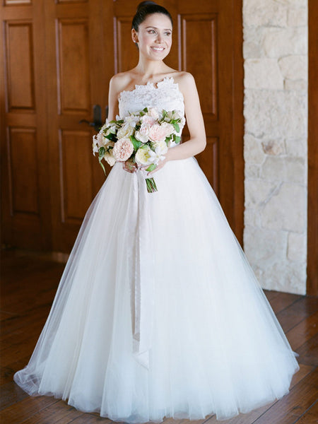 Unique Strapless Lace Tulle Ball Gown Wedding Dresses, AB1529