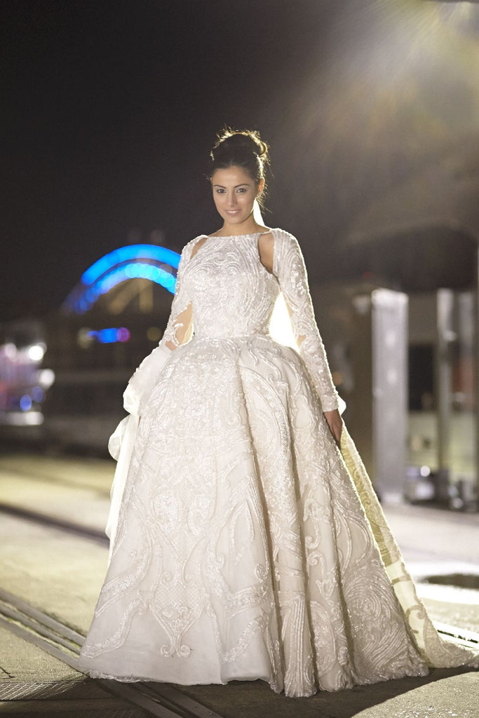 Unique Style Gorgeous Applique Beaded Open Back Long Sleeve Ball Gown Wedding Dresses, WD164