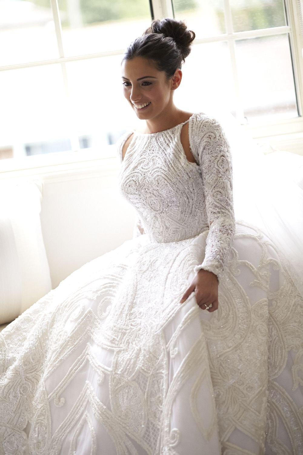 Unique Style Gorgeous Applique Beaded Open Back Long Sleeve Ball ...