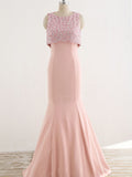 Unique Two Piece Pink Beading Top See Through  Back Mermaid Prom Dresses,PD00065