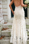 V-neck Cap Sleeve Open Back Vintage Ivory Lace Mermaid Wedding Dresses , AB1086