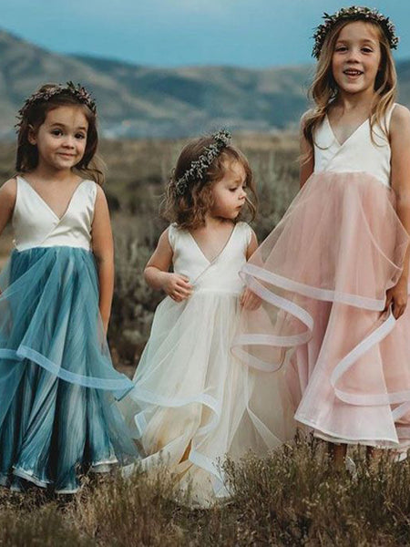 V-neck Ruffles Tulle Sleeveless Country Wedding Flower Girl Dresses, FGS144