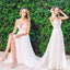 V-neck Spaghetti Strap Ivory Lace Chiffon Long Sexy Backless Beach Wedding Party Dresses, WD0105