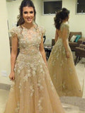 Vintage Appliques A-line Cap Sleeve Beading Sparkly Open Back Floor Length Long Prom Gown Dresses.   BD01220