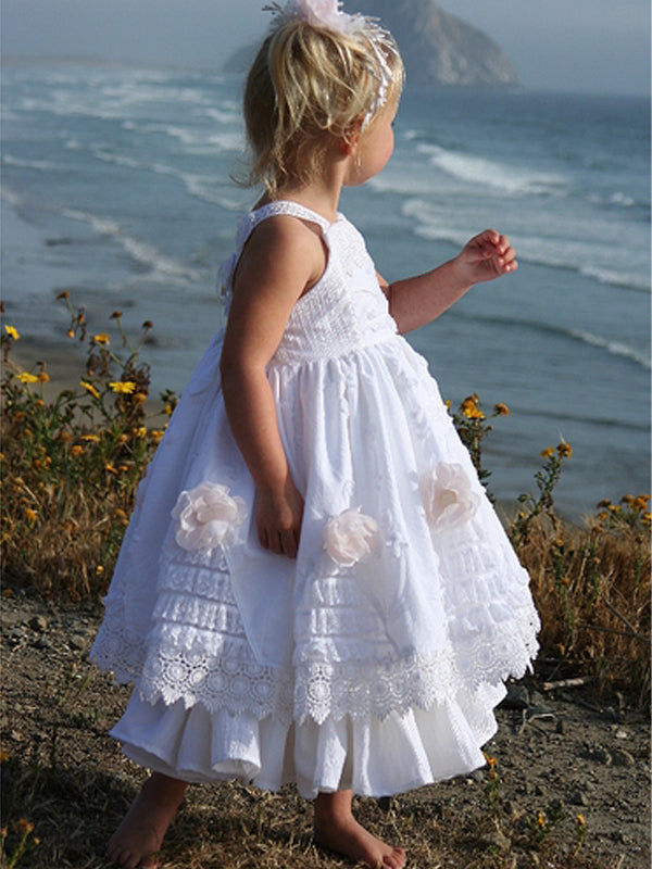 Vintage Lace Tiered Satin A-line Boho Flower Girl Dresses, FGS050