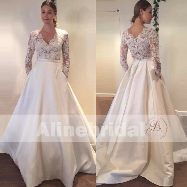 Vintage Lace Top Ivory Satin Long Sleeves Wedding Dresses With ...