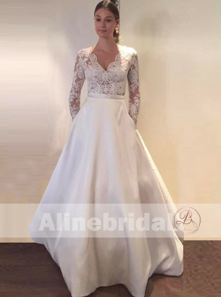 4e8e665242e7 Vintage Lace Top Ivory Satin Long Sleeves Wedding Dresses With Pockets,  AB1151