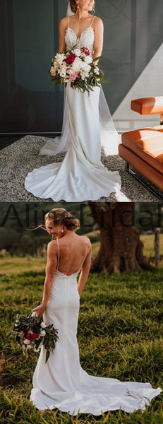 Vintage Lace Top Spaghetti Strap Backless Mermaid Train Wedding Dresses, AB1565