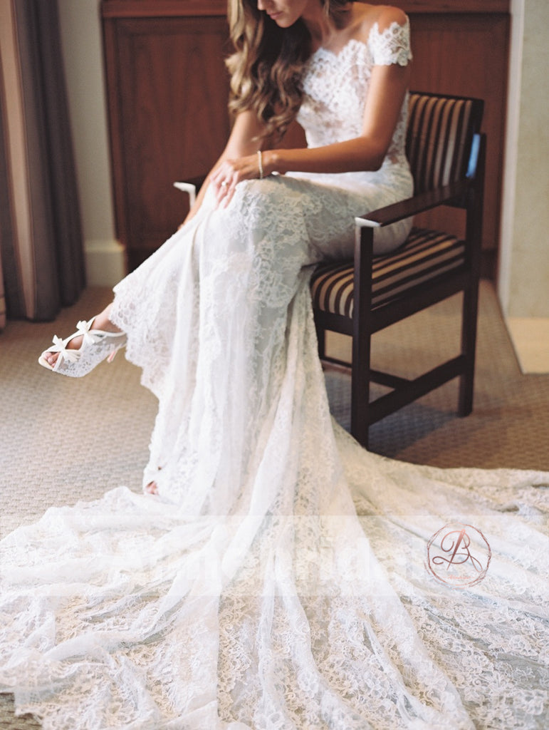 Vintage Off Shoulder See Through Illusion Back Mermaid Wedding Dresses, AB1162