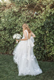 Vintage Off White Lace Tulle Backless V-neck A-line Wedding Dresses, AB1172