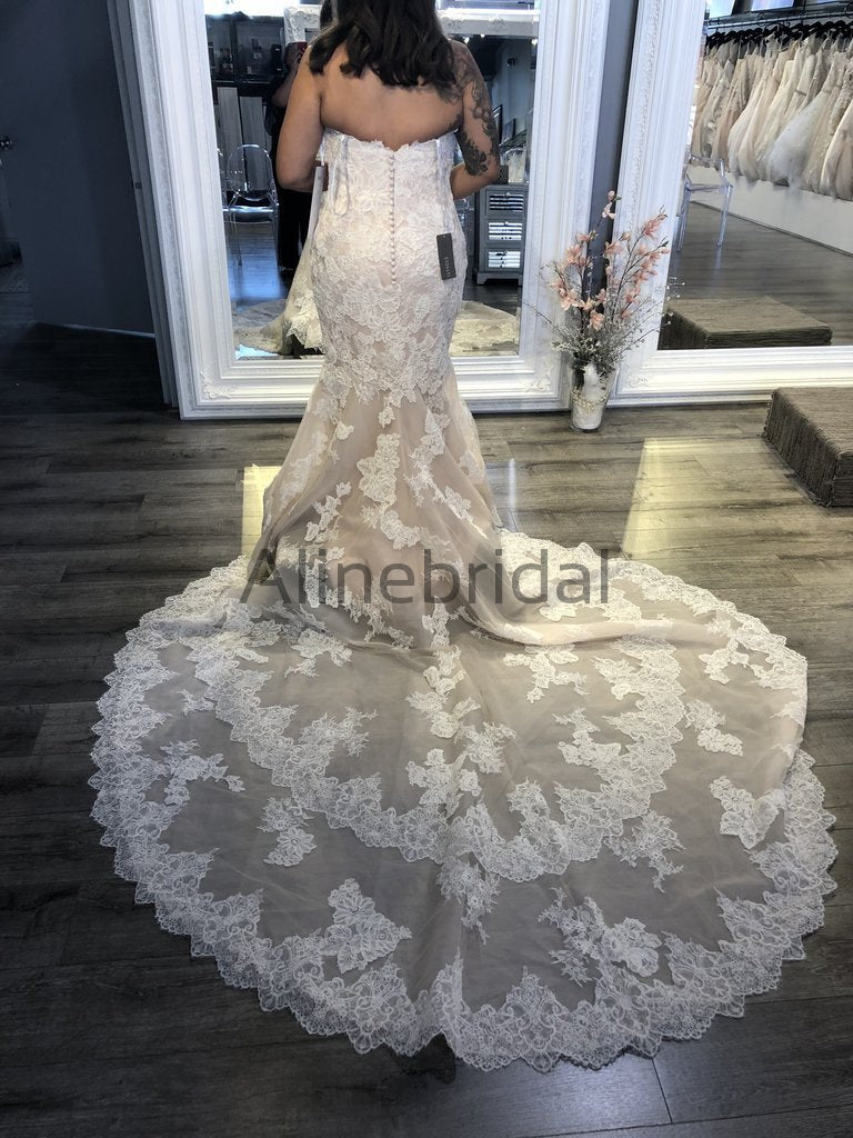 Vintage Strapless Lace Mermaid Train Elegant Wedding Dresses, AB1513