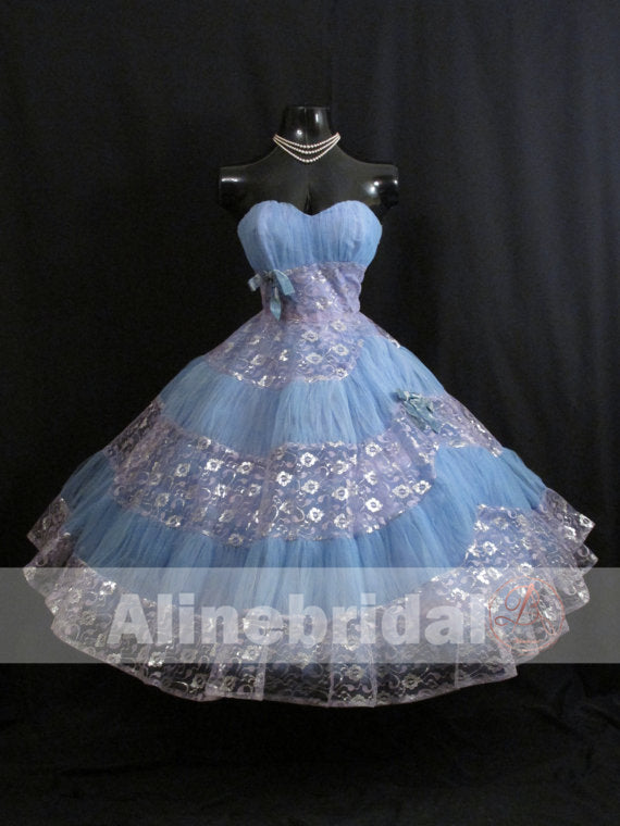 Vintage Sweetheart Strapless Sky Blue Lavender Lace Homecoming Dresses ,HD0004