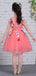 Watermelon Tulle Handmade Flower Applique Cap Sleeve Flower Girl Dresses, FGS127