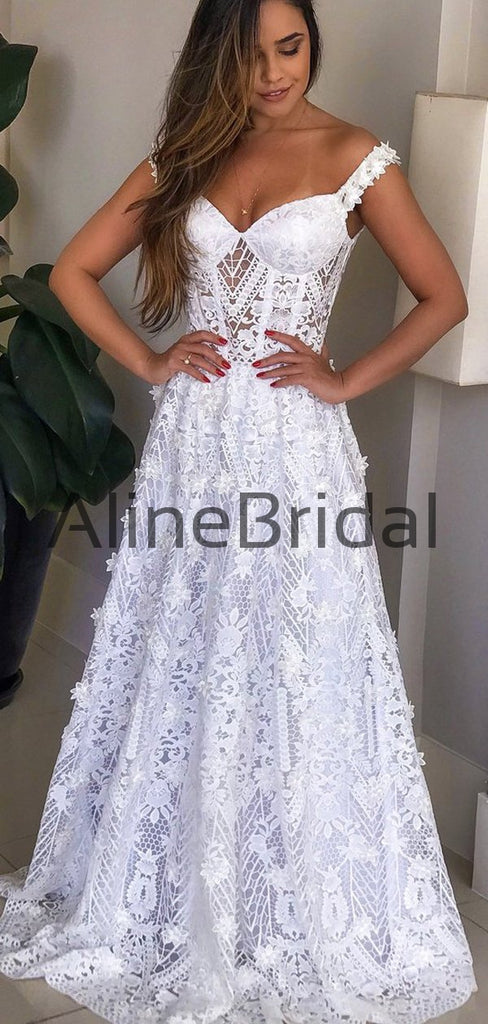White Lace Applique Off Shoulder A-line Wedding Dresses,AB1518
