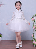 White Lace High Neck Long Sleeve Cute Flower Girl Dresses, FGS119