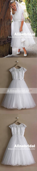 White Lace Sequin Tulle Bottom Cap Sleeve A-line Vintage Flower Girl Dresses, FGS096