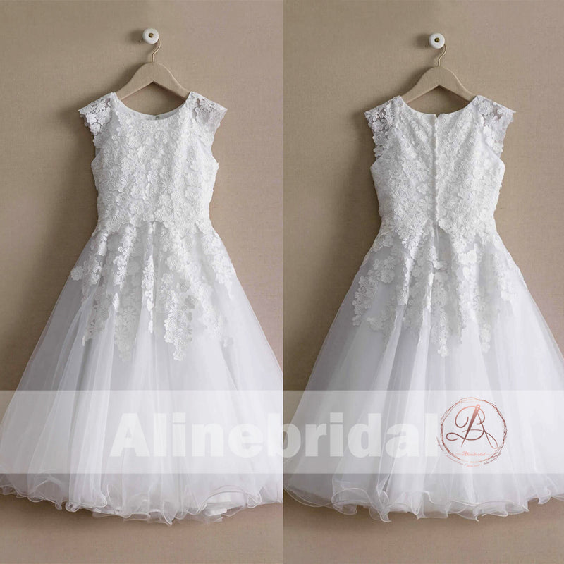 White Lace Tulle Cap Sleeve Round Neck Vintage Flower Girl Dresses, FGS095