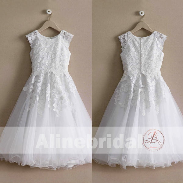 33938a1214b White Lace Tulle Cap Sleeve Round Neck Vintage Flower Girl Dresses ...
