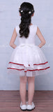 White Organza Red Satin Belt Cheap Simple Flower Girl Dresses , FGS123
