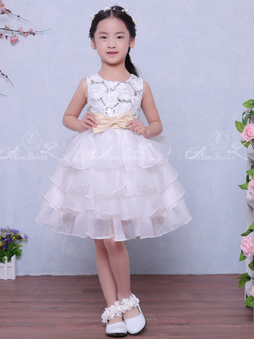 5842b563c07 products White Organza Tiered Lace With Sequin With Belt Flower Girl Dresses FGS122-1.jpg