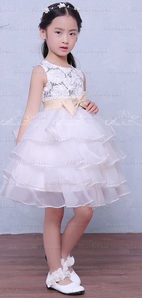 White Organza Tiered Lace With Sequin With Belt Flower Girl Dresses, FGS122