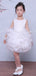 White Ruffles Organza Ball Gown Short Flower Girl Dresses, FGS032