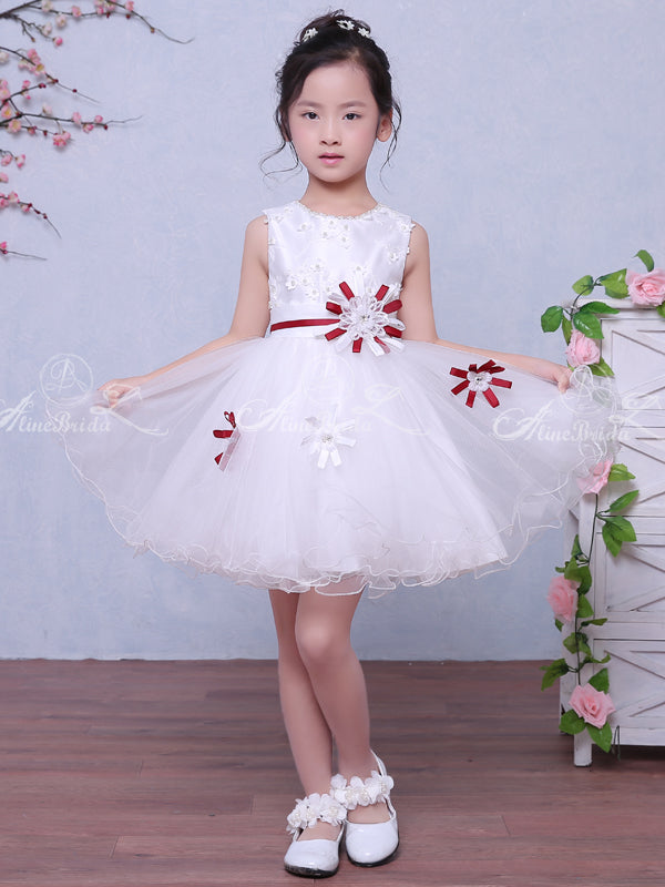 White Satin Tulle Applique Belt Simple Sweet Flower Girl Dresses, FGS034