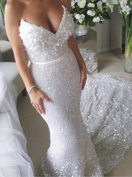 2e98a5c6a3 White Sequin Applique Strapless Mermaid Train Wedding Dresses , AB1523
