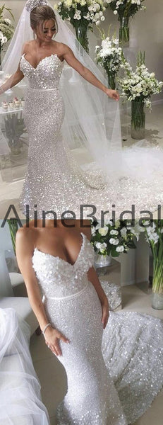White Sequin Applique Strapless Mermaid Train Wedding Dresses , AB1523