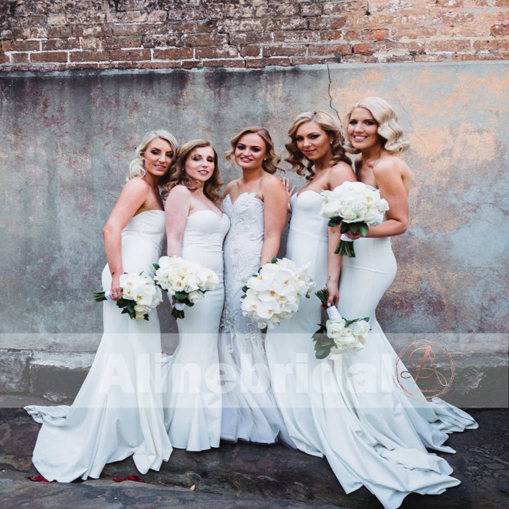 White Sweetheart Strapless Mermaid Simple Cheap Bridesmaid Dresses, AB1224