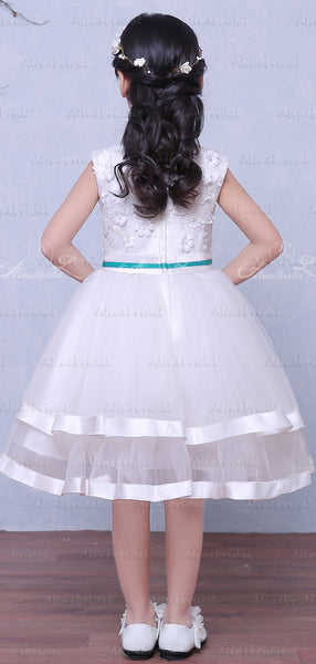 White Tulle Applique Beading Tiered Teal Belt Flower Girl Dresses, FGS118